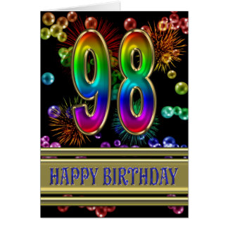 98th Birthday with rainbow bubbles and fireworks Greeting Card