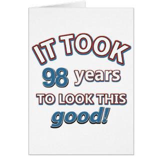 98th year old birthday designs card