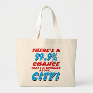 99.9% CITY (blk) Large Tote Bag