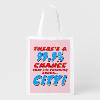 99.9% CITY (blk) Reusable Grocery Bag