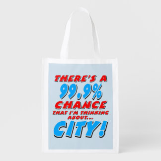 99.9% CITY (blk) Reusable Grocery Bag