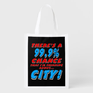 99.9% CITY (wht) Reusable Grocery Bag