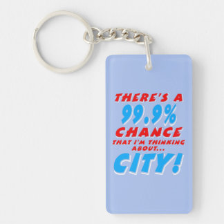 99.9% CITY (wht) Single-Sided Rectangular Acrylic Keychain