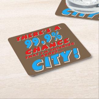 99.9% CITY (wht) Square Paper Coaster