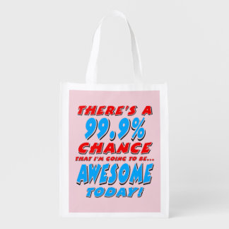 99.9% GOING TO BE AWESOME (blk) Reusable Grocery Bag