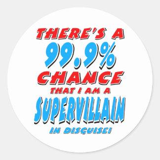 99.9% I am a SUPER VILLAIN (blk) Classic Round Sticker