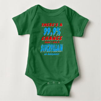 99.9% I am a SUPER VILLAIN (wht) Baby Bodysuit