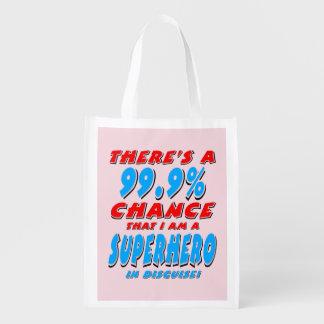 99.9% I am a SUPERHERO (blk) Reusable Grocery Bag