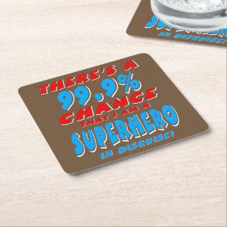 99.9% I am a SUPERHERO (wht) Square Paper Coaster
