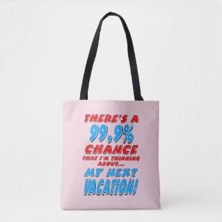 99.9% NEXT VACATION (blk) Tote Bag