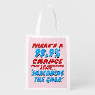 99.9% SHREDDING THE GNAR (blk) Reusable Grocery Bag