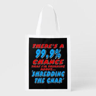 99.9% SHREDDING THE GNAR (wht) Reusable Grocery Bag