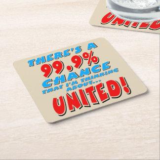 99.9% UNITED (blk) Square Paper Coaster