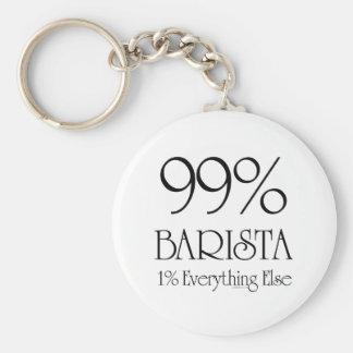 99% Barista Basic Round Button Keychain
