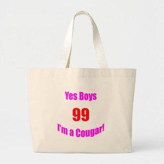 99 Cougar Birthday Large Tote Bag