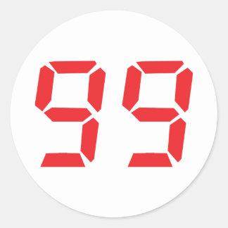 99 ninety-nine red alarm clock digital number round sticker