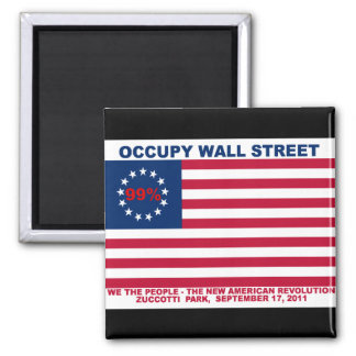 99% Occupy Wall Street Flag The New Revolution Square Magnet