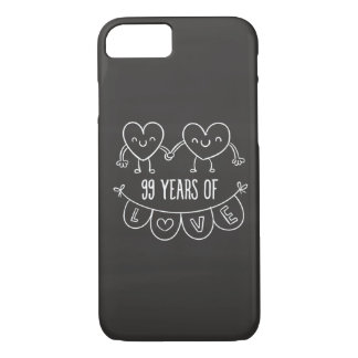 99th Anniversary Gift Chalk Hearts iPhone 7 Case
