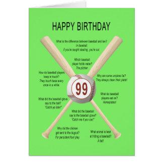 99th birthday baseball jokes card