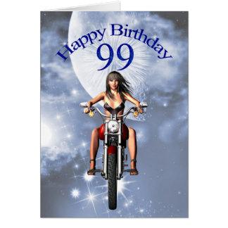 99th birthday card with a biker gir