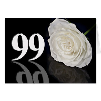 99th Birthday Card with a classic white rose