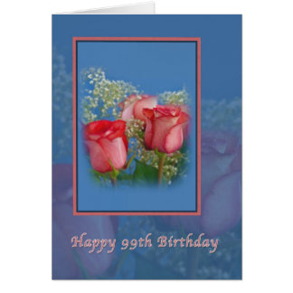 99th Birthday Card with Red Roses