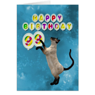 99th Birthday card with siamese cats
