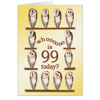 99th birthday, Curious owls card. Card