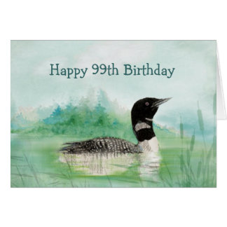 99th Birthday Humor Watercolor Loon Bird Nature Card