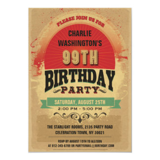 99th Birthday Vintage Typography Grunge Card
