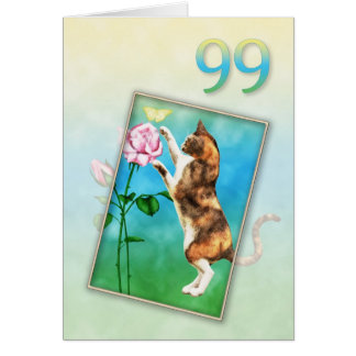 99th Birthday with a playful cat Card