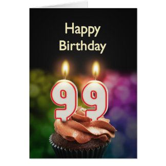 99th Birthday with cake and candles Card