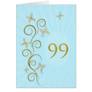 99th Birthday with golden butterflies Card
