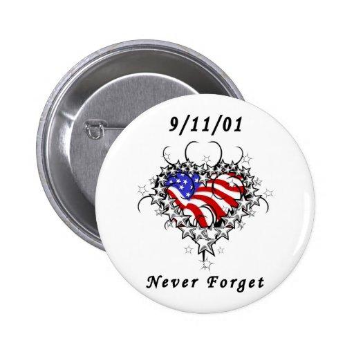9/11/01 Patriotic Tattoo Button