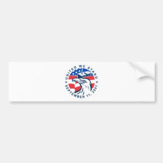 9-11 Eagle Head World Trade Center American Flag Bumper Sticker