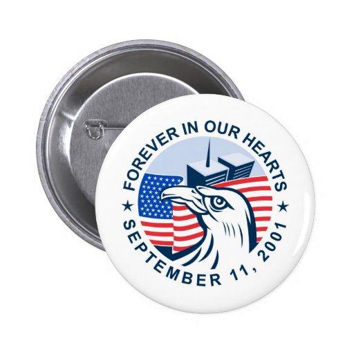 9/11 memorial american eagle flag twin towers pin