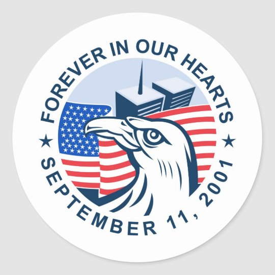 9/11 memorial american eagle flag twin towers classic round sticker