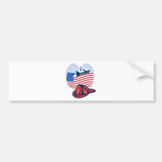 9/11 memorial american flag twin towers  fireman bumper sticker