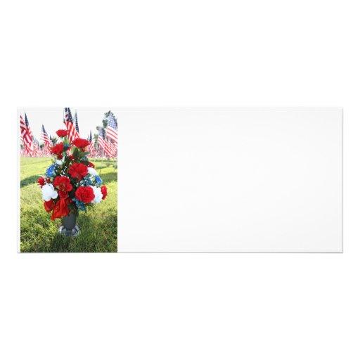 9-11 Memorial Flowers & USA Flags Full Color Rack Card
