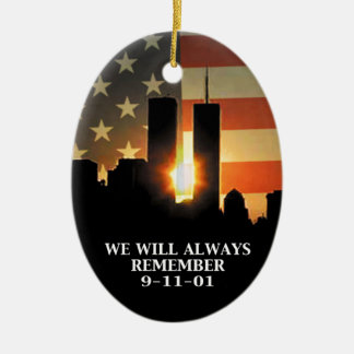 9-11 remember - We will never forget Ceramic Ornament