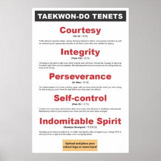 9-3 Customizable Taekwon-Do Tenets Poster