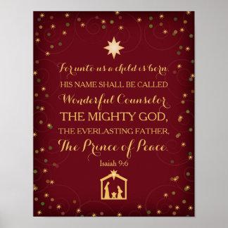 9:6 d'Isaïe pour à nous un enfant est né (11x14) Poster