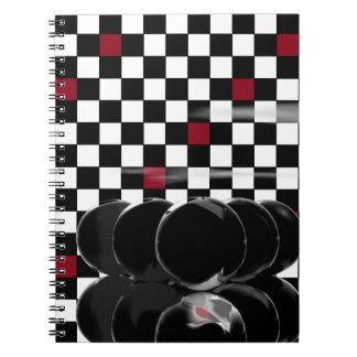 9-Ball Black Balls Billiards Black Red Chessboard Spiral Note Books