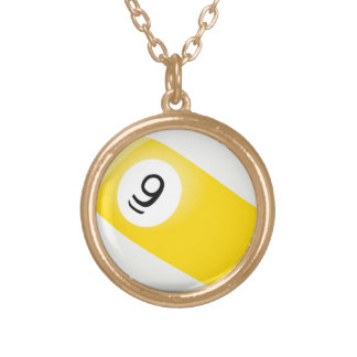 9 ball is the game billiards pool game gold plated necklace