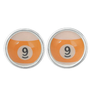 """9 Ball"" pool ball design jewelry set Cufflinks"