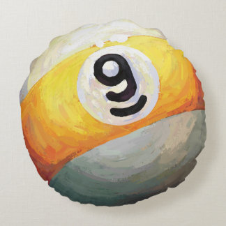 9 ball round pillow