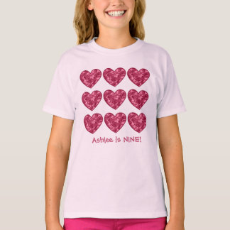 9 Birthday Girl Hearts Custom Name Pink Camo T-Shirt