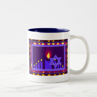 9 candle flame on purple-lavend star n border 1--H Coffee Mugs
