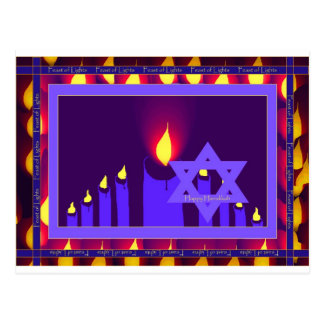9 candle flame on purple-lavend star n border 1--H Postcard