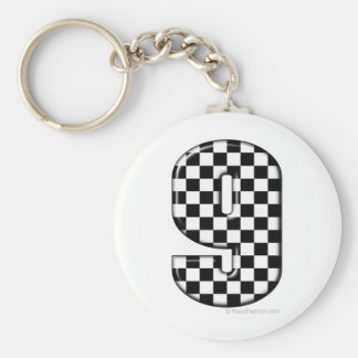 9 chequered auto racing number basic round button keychain